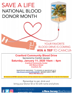 Cranford Community Blood Drive Sponsored by Cranford Jaycees @ Cranford Community Center | Cranford | New Jersey | United States