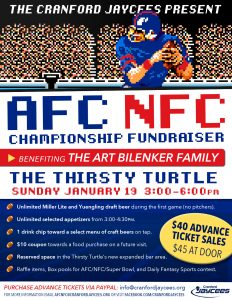 Cranford Jaycees 2020 AFC/NFC Fundraiser @ Thirsty Turtle
