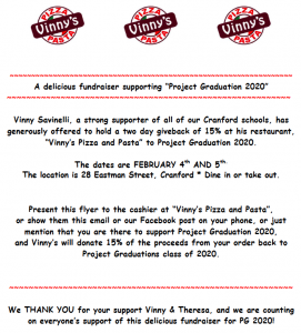 """Vinny's Pizza and Pasta"" Project Graduation 2020 Fundraiser @ Vinny's Pizza and Pasta 