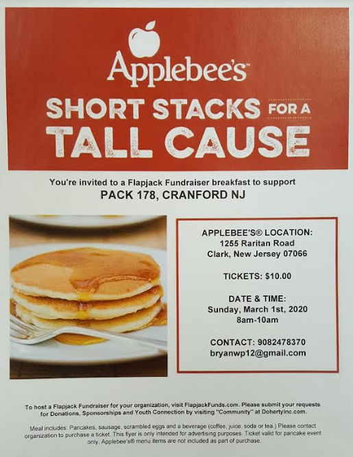 Flapjack Fundraiser to support Cub Scout Pack 178 Cranford