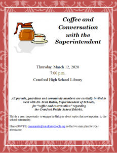 Coffee and Conversation with the Superintendent @ Cranford High School Library