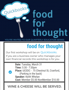 Cranford Chamber food for thought Education Series: Quickbooks @ UCEDC