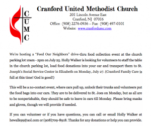 """Feed Our Neighbors"" Drive-Thru Food Collection @ Cranford United Methodist Church"