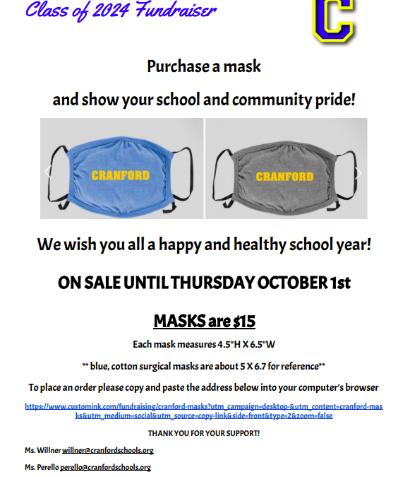 Cranford Class of 2024 Mask Fundraiser