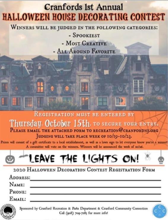 Cranford Nj Halloween 2020 Halloween House Decorating Contest Registration – Enter by 10/15