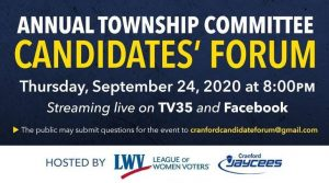 Annual Cranford Township Committee Candidates Forum @ Virtual Event
