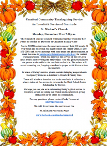 Cranford Community Thanksgiving Service - Cranford Clergy Council will honor Kathy Willis @ By Requests or Virtual Event