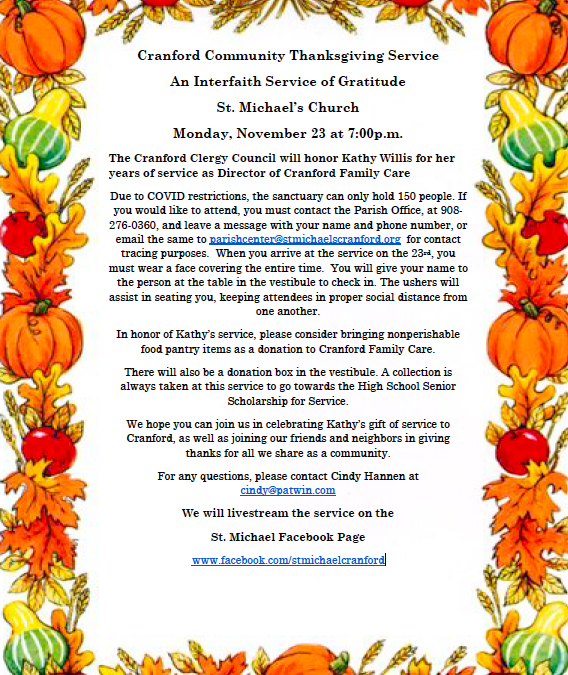 Cranford Community Thanksgiving Service – Cranford Clergy Council will honor Kathy Willis