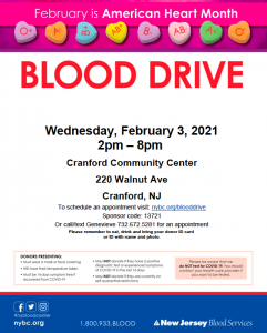Community Blood Drive @ Cranford Community Center