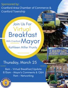 Virtual Breakfast with Cranford Mayor, Kathleen Miller Prunty @ Virtual
