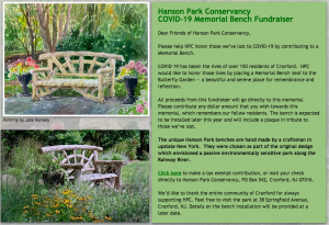 Hanson Park Conservancy Covid-19 Memorial Bench Fundraiser @ Virtual
