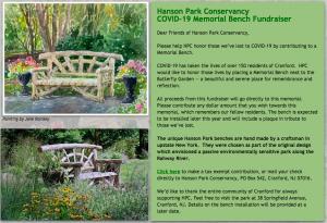 Hanson Park Conservancy Covid-19 Memorial Bench Fundraiser @ Virtual