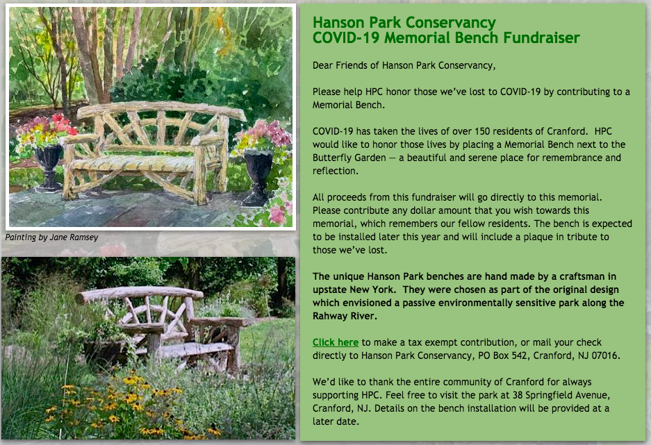 Hanson Park Conservancy Covid-19 Memorial Bench Fundraiser