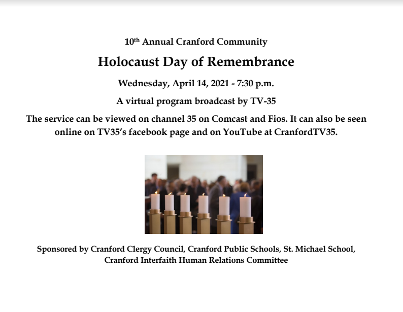 Holocaust Day of Remembrance @ Virtual