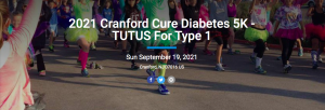 2021 Cranford Cure Diabetes 5K - TUTUS For Type 1 @ Nomahegan Park or Virtual