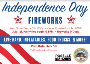 Independence Day Fireworks in Roselle Park @ Herm Shaw Athletic Field