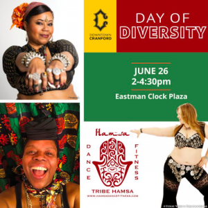Hamsa Dance & Fitness will host a Day of Diversity @ Eastman Clock Plaza