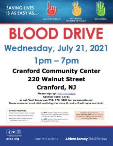 Community Blood Drive @ Cranford Community Center