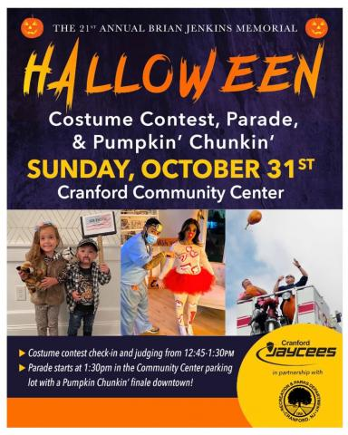 Cranford Halloween Parade, Costume Contest, & Pumpkin Chunkin' @ Cranford Community Center